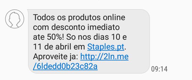 Nova SMS Staples! Campanha válida para os dias 10 e 11 de Abril, apenas para compras online