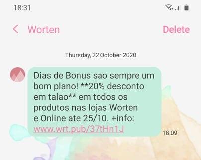 Nova SMS Worten acabadinha de receber! A campanha chegou por SMS e refere-se ao Dias de Bonus, com 20%. Promoção válida até...LER MAIS