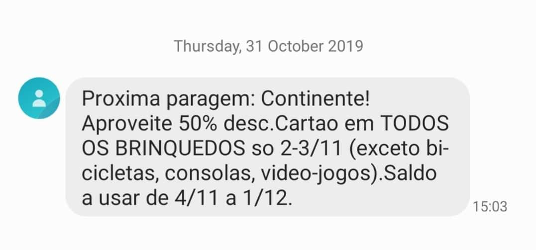Nova sms Continente! O Supermercado tem normalmente várias campanhas que são enviadas via SMS e a coisa corre particularmente bem.