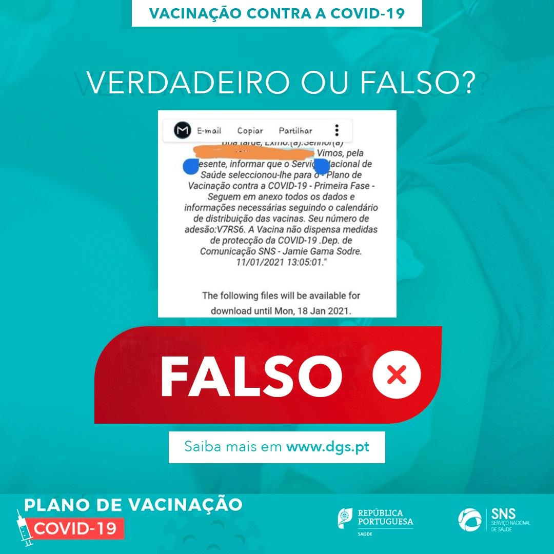 ATENÇÃO Fraude: E-mail em nome do SNS sobre vacinação COVID